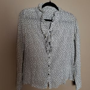 White and Gray Floral Garnet Hill Ruffle Top.